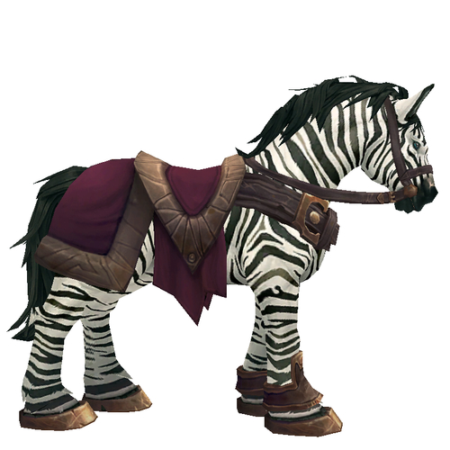 Zebra Horse w/ Burgundy Saddle