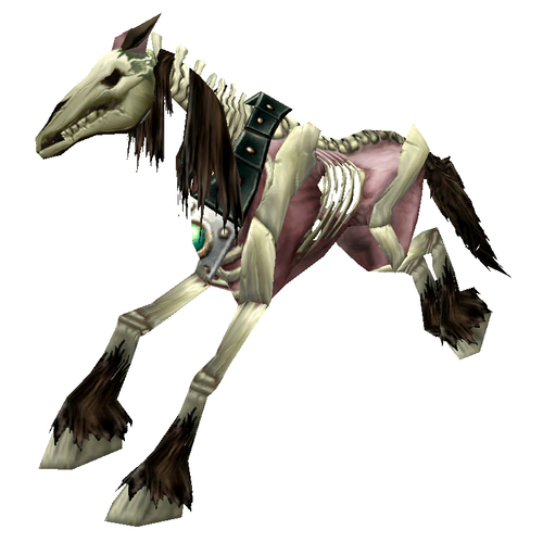Unsaddled Red Skeletal Horse