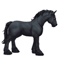 Unsaddled Black Horse w/ Red Eyes